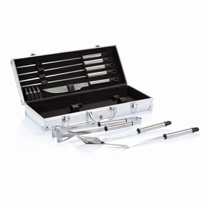 12-delige barbecue set in aluminium koffer zilver