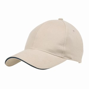 5 panel baseball cap met bollende klep en klittenbandsluiting uitgevoerd in geborsteld katoen, beige