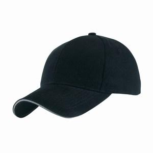 5 panel baseball cap met bollende klep en klittenbandsluiting uitgevoerd in geborsteld katoen, zwart