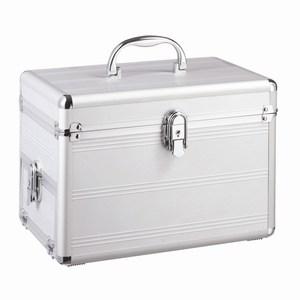 Lichtgewicht aluminium beauty case met sieradenvak en flexibel in te richten compartimenten, zilver