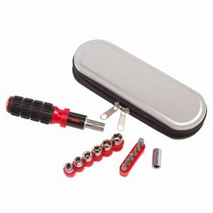14-delige ratelschroevendraaier met rubber grip en metalen middels rits afsluitbare houder, zwart, rood, zilver