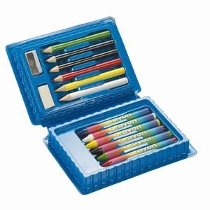 14 delig tekensetje met gum, puntenslijper, potloden en waskrijt verpakt in een doosje, blauw