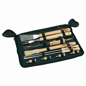 10 delig BBQ set van roestvrij staal met houten handgrepen, zwart, hout
