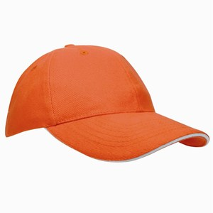 Heavy Brushed Cap oranje met witte sandwich