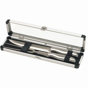 2-delig roestvrijstalen mes en vork set in luxe aluminium houder, zilver