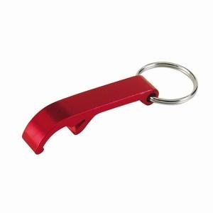 Flesopener van aluminium met sleutelring, rood