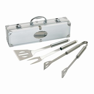 3 delig BBQ set van roestvrij staal in luxe koffer, zilver