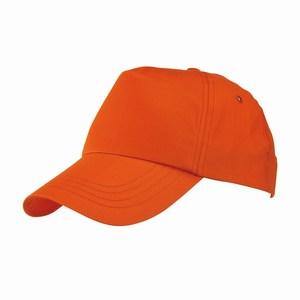 5 panel baseball cap met bollende klep en klittenbandsluiting uitgevoerd in geborsteld katoen, oranje