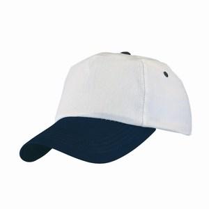 5 panel katoenen baseball cap in twee kleuren combinatie met verstelbare sluiting, wit, blauw