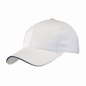 5 panel baseball cap met bollende klep en klittenbandsluiting uitgevoerd in geborsteld katoen, wit