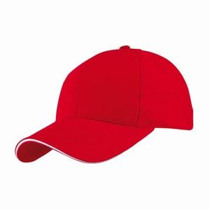 5 panel baseball cap met bollende klep en klittenbandsluiting uitgevoerd in geborsteld katoen, rood