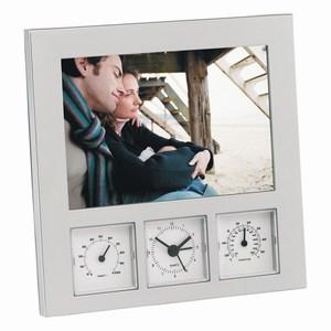 Fotolijst voor foto´s van 10 x 15 cm met analoog alarmklokje, thermometer en hygrometer, zilver