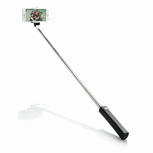 Opvouwbare selfie stick met kabel, zwart